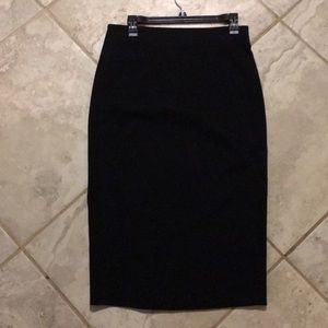 Mid calf length black pencil skirt